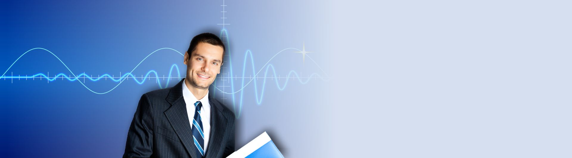 photo of man smiling in front of sine wave